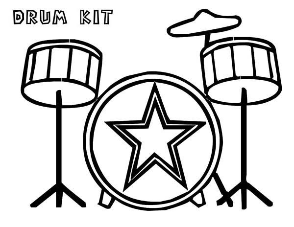Musical Instruments, : Drum Kit is a Musical Instruments Coloring Pages