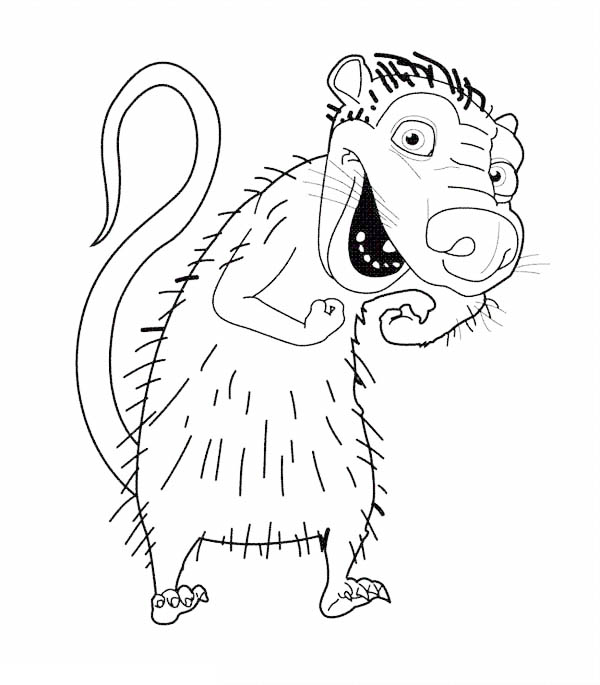 Ice Age, : Eddie Laughing in Ice Age Coloring Pages