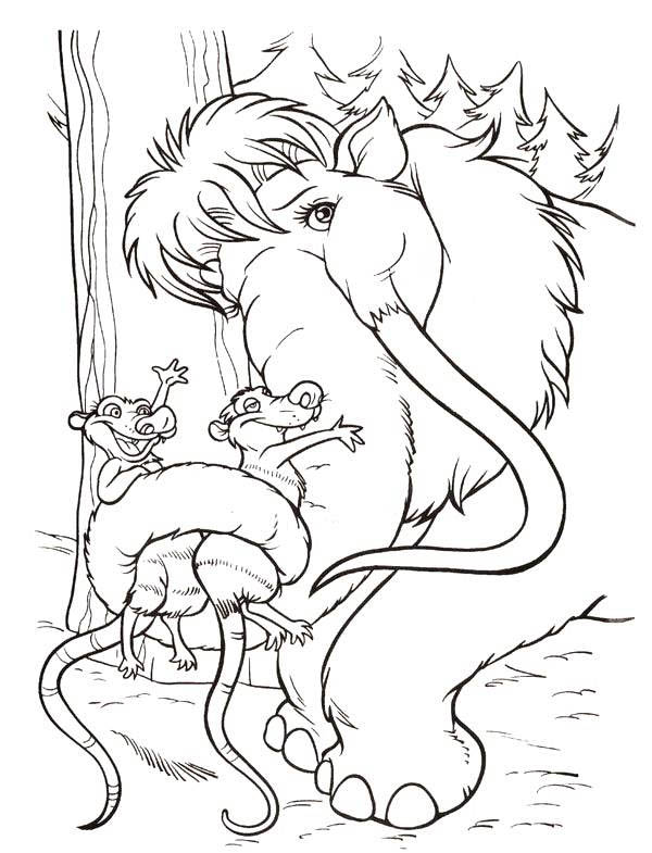 Ice Age, : Eddie and Crash Hold by Ellie in Ice Age Coloring Pages