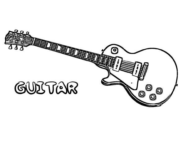 Musical Instruments, : Electric Guitar is a Musical Instruments Coloring Pages