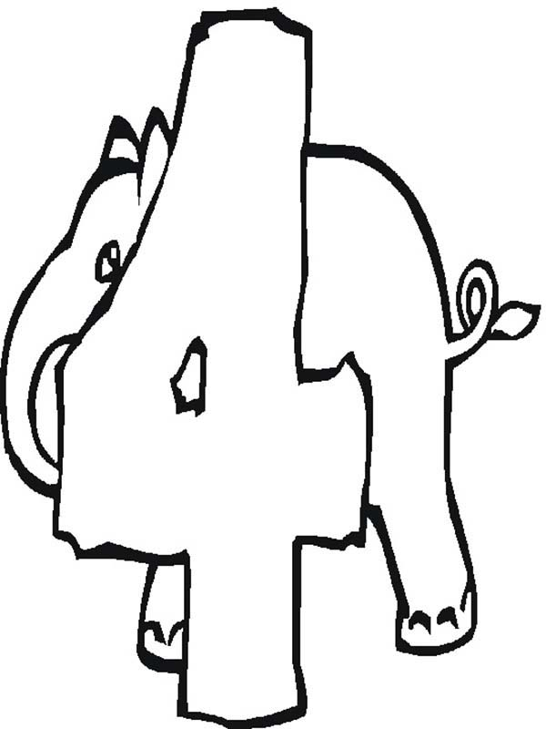 Number 4, : Elephant Number 4 Coloring Page
