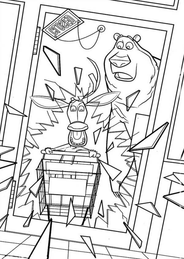 Oliver and Company, : Elliot Breaking the Door Glass in Open Season Coloring Pages