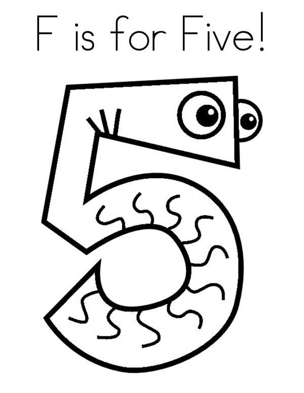 Number 5, : F is for Number 5 Coloring Page