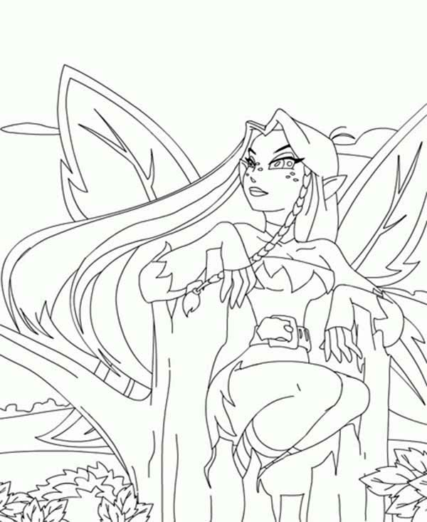 Neopets, : Faerie Sitting on a Tree in Neopets Coloring Pages