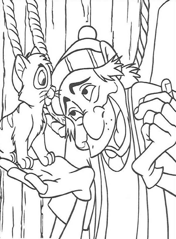 Oliver and Company, : Fagin Talking to Oliver in Oliver and Company Coloring Pages