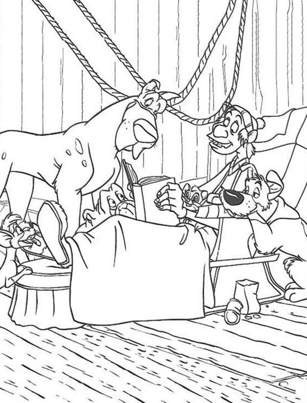 Oliver and Company, : Fagin Tell Story to All Animals in Oliver and Company Coloring Pages