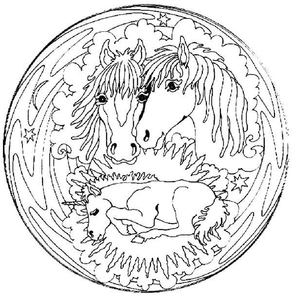 Mandala Animal, : Family Horse Mandala Animal Coloring Pages