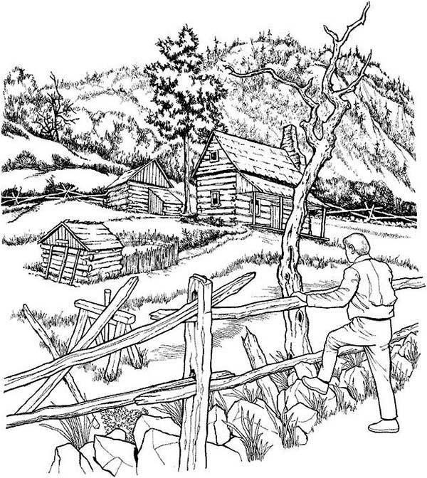 Landscapes, : Farm Landscapes Coloring Pages