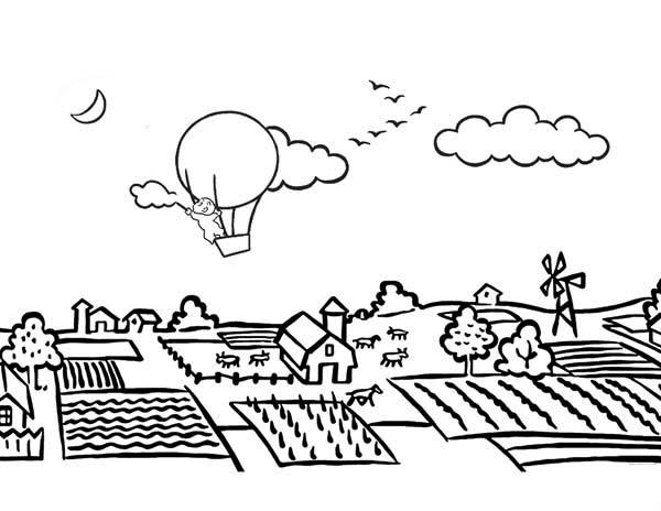 Landscapes, : Farming Landscapes Coloring Pages