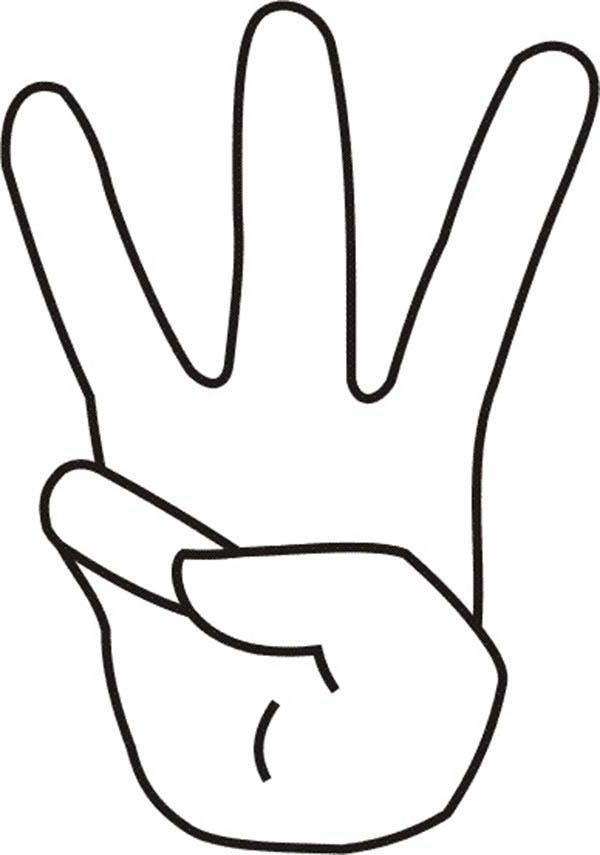 Number 3, : Finger Count to Number 3 Coloring Page