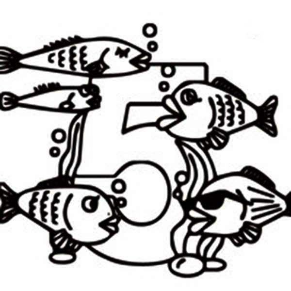Number 5, : Five Fishes and Number 5 Coloring Page