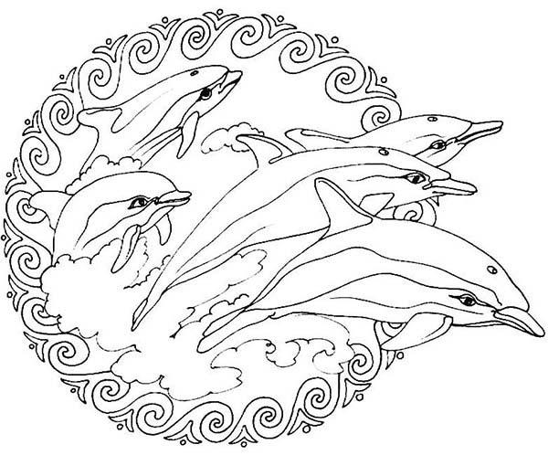 Mandala Animal, : Flippers Jumping from the Sea Mandala Animal Coloring Pages