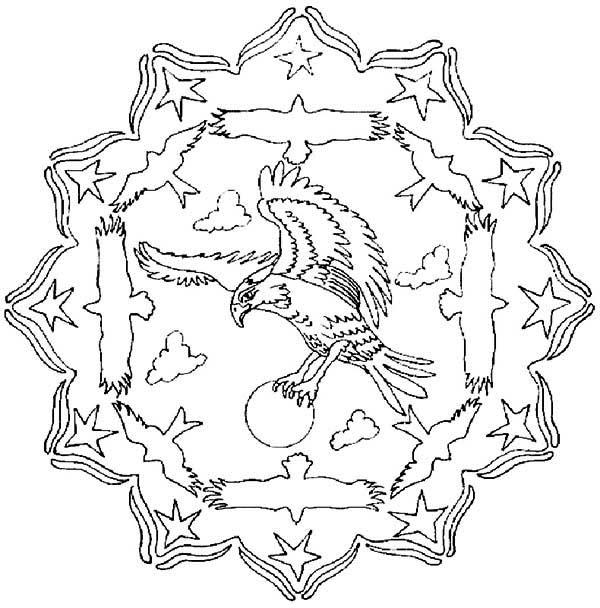 Mandala Animal, : Flying Eagle Mandala Animal Coloring Pages