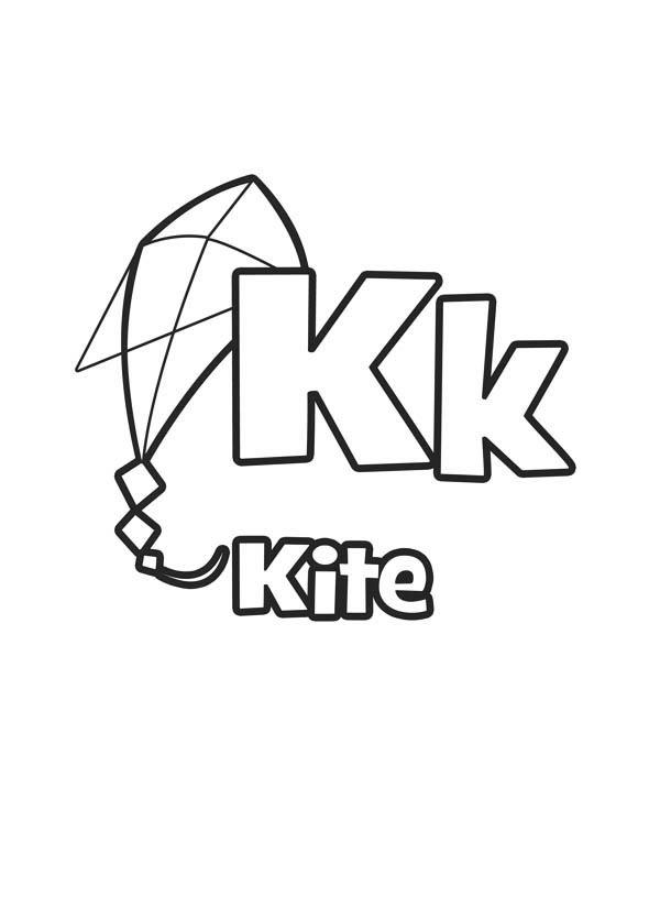 Letter K, : Flying Kite for Letter K Coloring Page