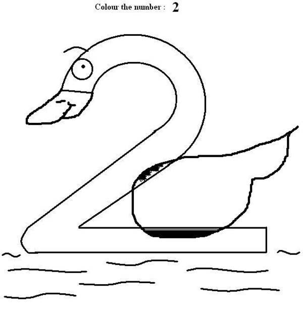 Number 2, : Goose Number 2 Coloring Page