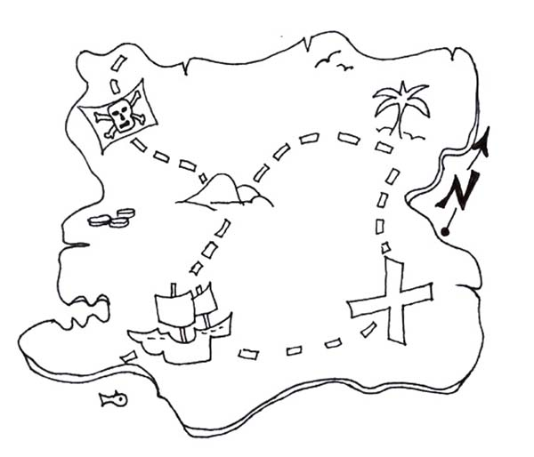 Maps, : Great Pirate Treasure Maps Coloring Pages