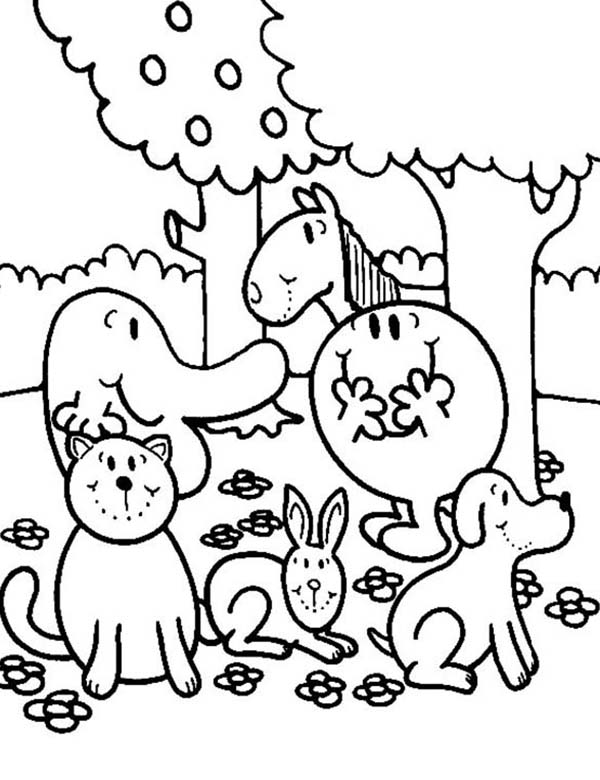 Mr Men and Little Miss, : Hanging Out Together in Mr Men and Little Miss Coloring Pages