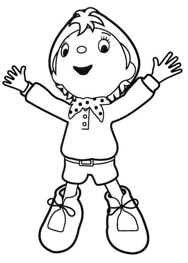 Noddy, : Happy Noddy Coloring Pages