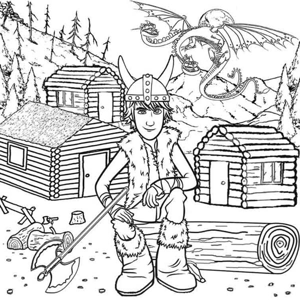 How to Train Your Dragon, : Hiccup Take a Picture in How to Train Your Dragon Coloring Pages