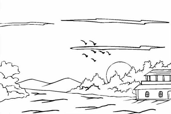 Landscapes, : House on Hills Landscapes Coloring Pages