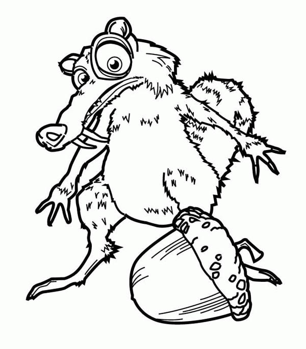 Ice Age, : How to Draw Scrat and His Pine Fruit in Ice Age Coloring Pages