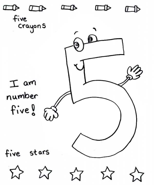 Number 5, : I am Number 5 Coloring Page