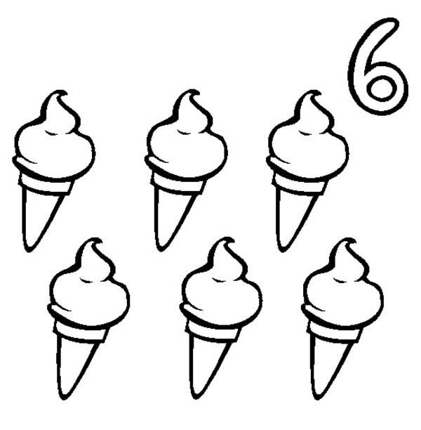 Number 6, : Ice Creams and Number 6 Coloring Page