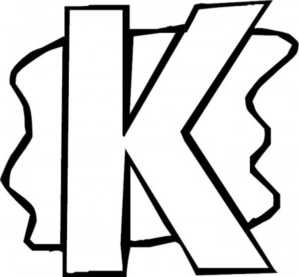 Letter K, : Introducing Letter K Coloring Page for Kids