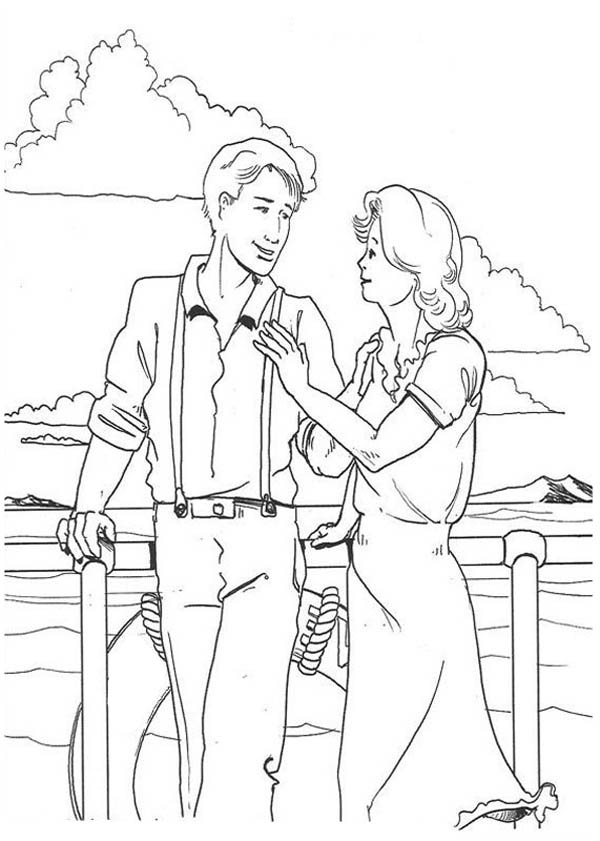 King Kong, : Jack and Ann on Boat in King Kong the Movie Coloring Pages