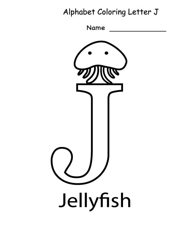 Letter J, : Jellyfish for Alphabet Letter J Coloring Page
