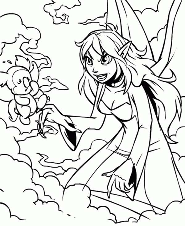 Neopets, : Jhudora Angry to Her Pet in Neopets Coloring Pages