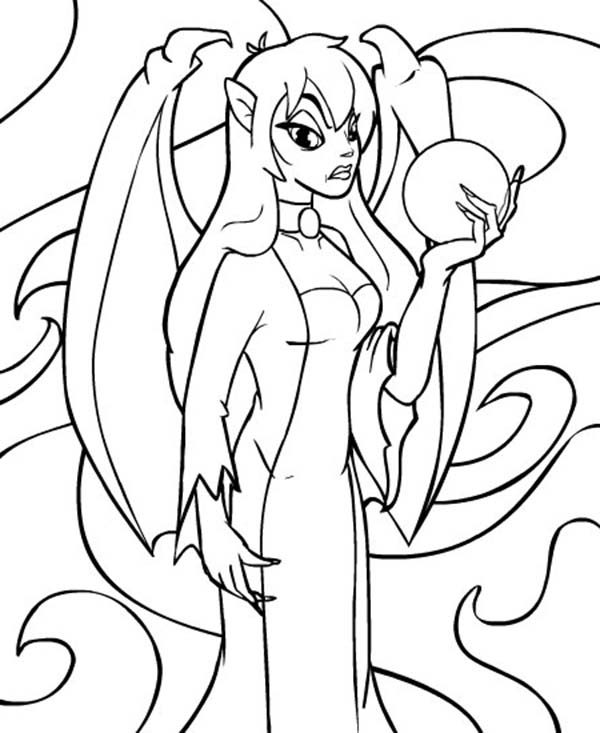 Neopets, : Jhudora Holding Crystal Ball Neopets Coloring Pages