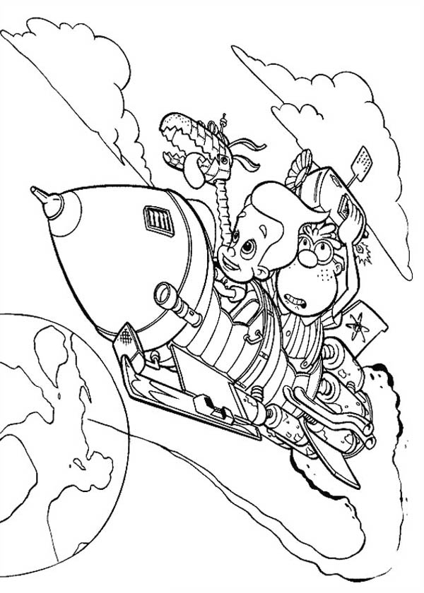 Jimmy Neutron, : Jimmy Neutron Flying with Carl and Goddard Coloring Pages