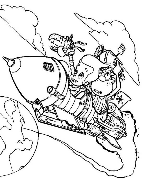 Jimmy Neutron, : Jimmy Neutron Inventing Rocket Coloring Pages