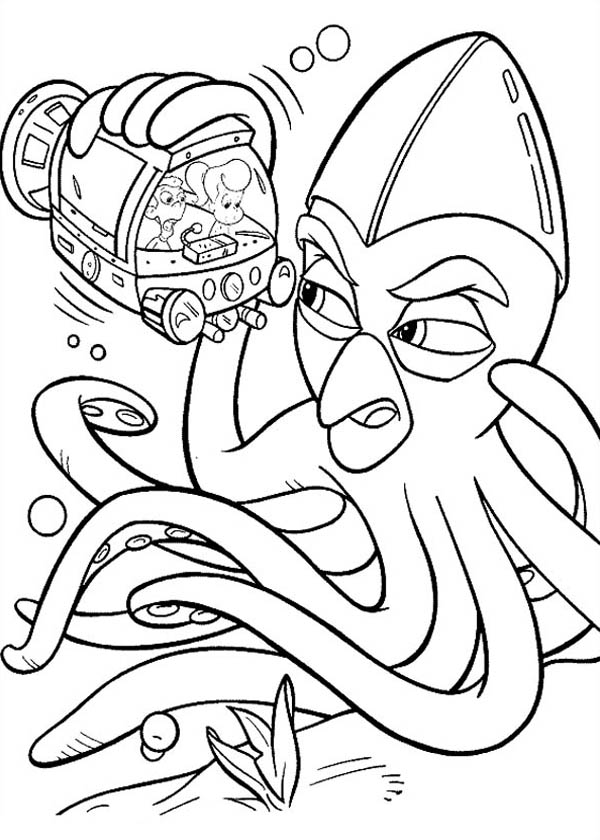 Jimmy Neutron, : Jimmy Neutron Meet Giant Octopus Coloring Pages