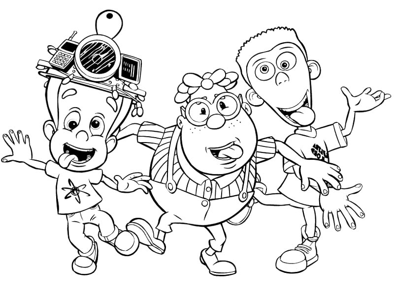 Jimmy Neutron, : Jimmy Neutron and His Best Friends Coloring Pages
