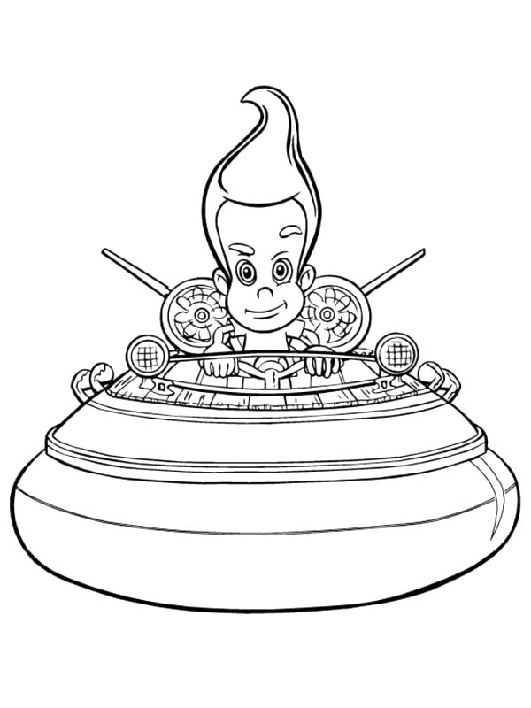 Jimmy Neutron, : Jimmy Neutron on His Spaceship Coloring Pages