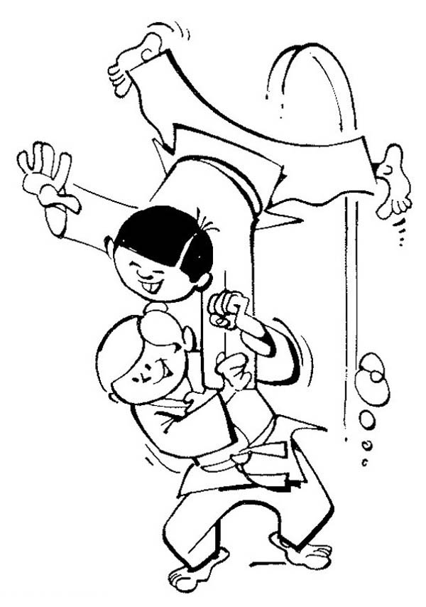 Judo, : Judo Demonstration Coloring Pages