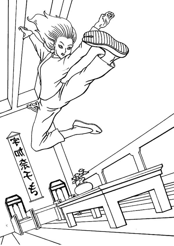 Judo, : Judo Flying Kick Coloring Pages
