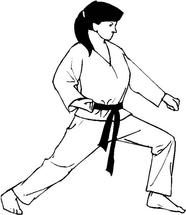 Judo, : Judo Girl Athlete Coloring Pages