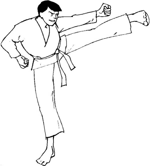 Judo, : Judo Kick Coloring Pages