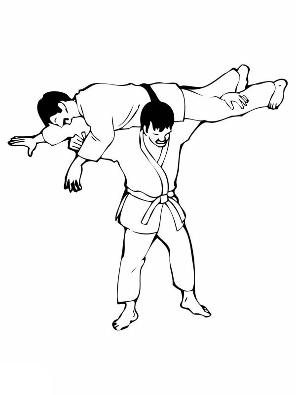 Judo, : Judo Lifting Technique Coloring Pages