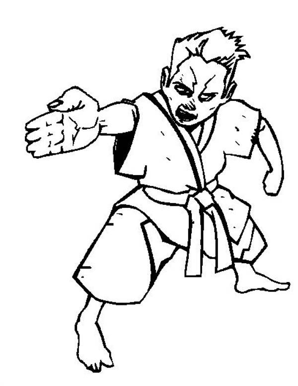 Judo, : Judo Palm Coloring Pages
