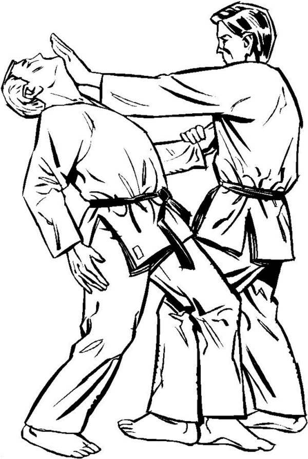 Judo, : Judo Strike with Palm Coloring Pages