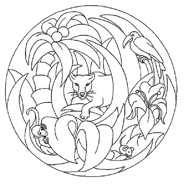 Mandala Animal, : Jungle Animals Mandala Animal Coloring Pages