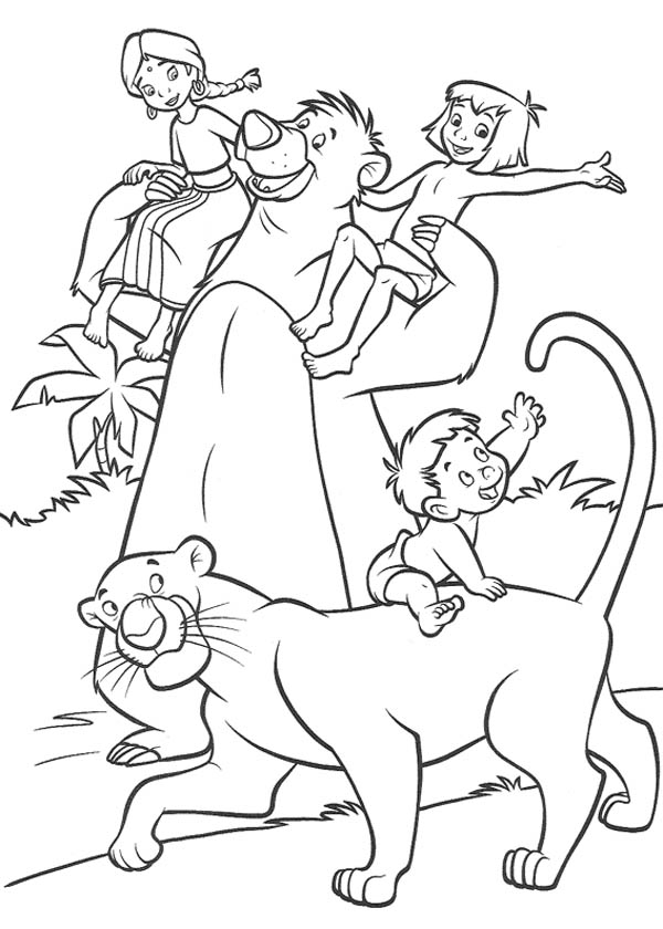 Jungle Book, : Jungle Book Characters Having Fun Together Coloring Pages