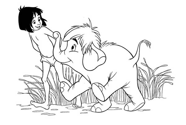 Jungle Book, : Jungle Book Mowgli and Hathi Walking Around Coloring Pages