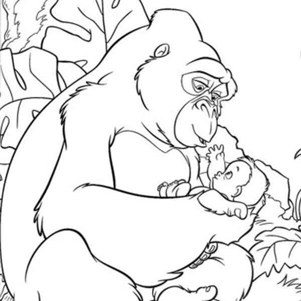 King Kong, : Kerchak the King Kong Taking Care of Little Tarzan Coloring Pages