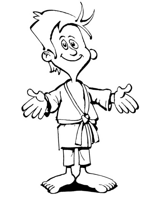 Judo, : Kid Ready to Compete in Judo Coloring Pages