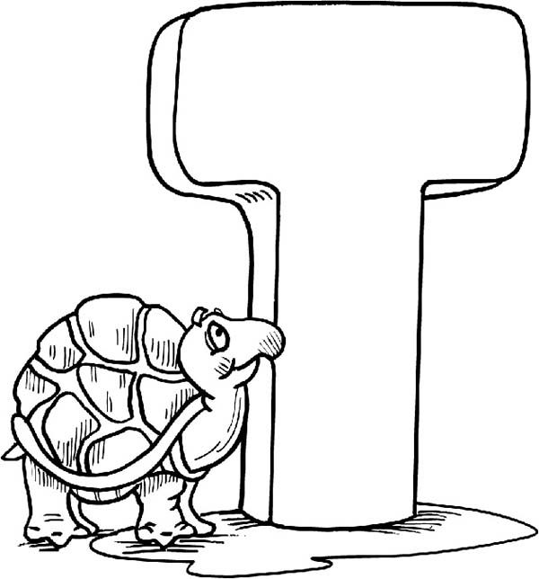 Letter T, : Kids Leard Alphabet Letter T is for Turtle Coloring Page